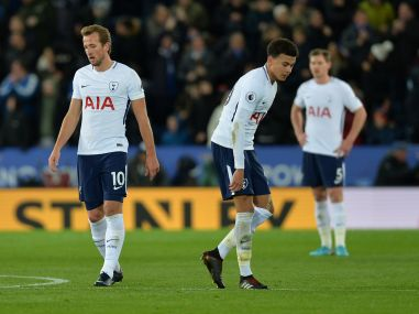 Tottenham players look dejected during their match against Leicester. Reuters