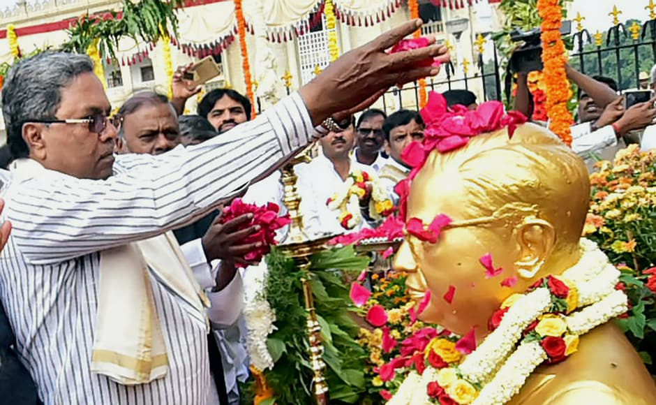 """Karnataka chief minister Siddaramaiah paid tribute to BR Ambedkar on occasion of his """"Mahaparinirvan Diwas"""", in front of Vidhan Soudha in Bengaluru on Wednesday. PTI"""