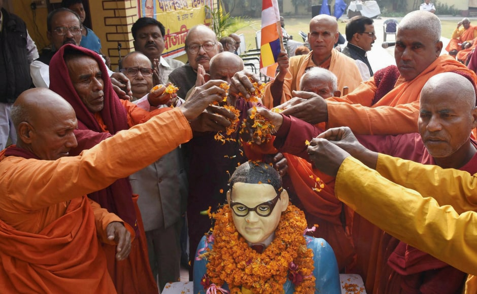 Buddhist monks paid their tributes to Babasaheb Bhimrao Ambedkar on his death anniversary at Ambedkar Research Institute in Patna on Wednesday. PTI