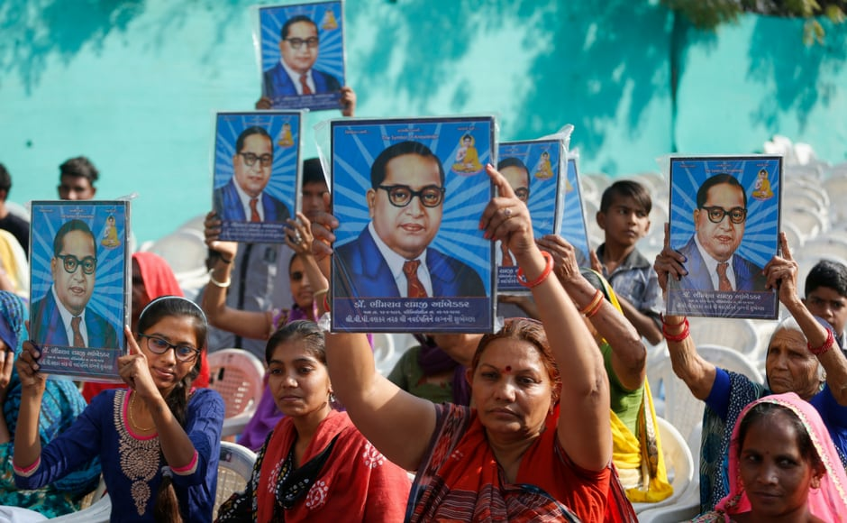 During India's main Opposition Congress party vice-president Rahul Gandhi's visit to the Dalit Shakti Kendra, a vocational training institute run by Dalit activistsin Gujarat, women held Amberkar's pictures to show their respect for the leader. AP