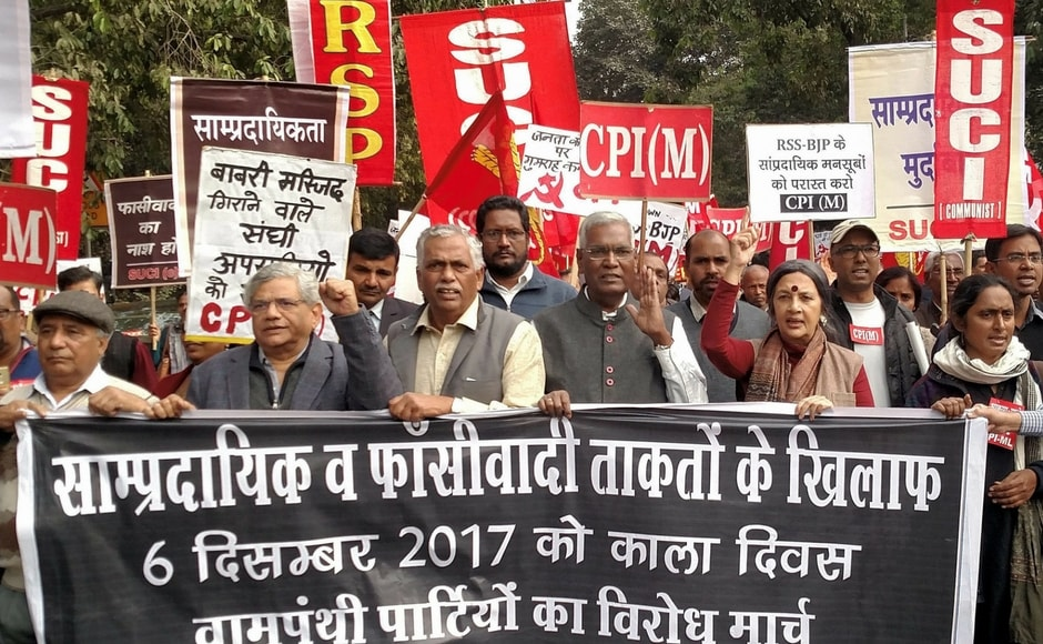 Six Left parties took out a protest in Delhi and urged the government to punish those responsible for the demolition of the Babri Masjid. PTI