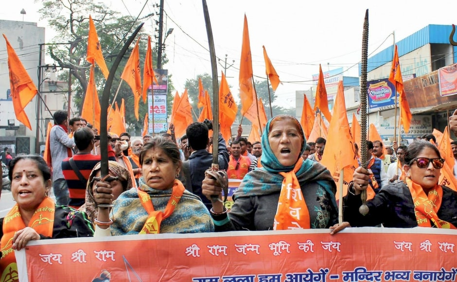 """Meanwhile, Shiv Sena activists observed """"Vijay Diwas""""in Meerut. Ahead of the anniversary of the demolition, the Centre had asked all states to remain cautious and ensure that no incident of communal tension anywhere in the country. PTI"""