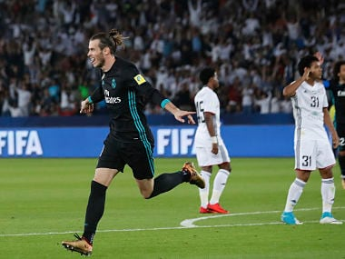 Real Madrid's Gareth Bale celebrates after scoring his side's goal during the Club World Cup semifinal against Al Jazira Club. AP