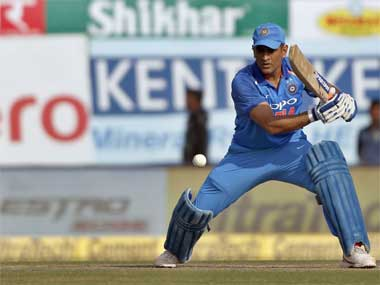 India's MS Dhoni plays a shot during the 1st ODI of the series against Sri Lanka in Dharmsala. AP