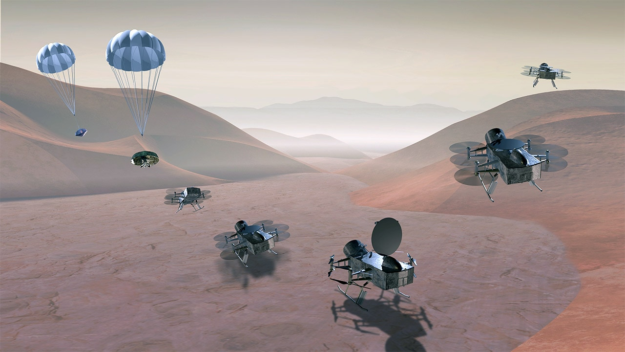 Concept art of the Dragonfly mission to Titan. Image: NASA.
