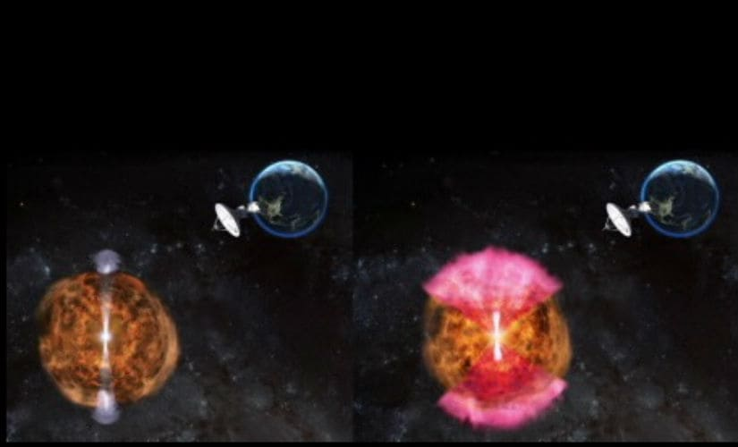 Astronomers thought jet facing away from Earth (left in this illustration) could explain the low emission of energy observed in the violent collapse of binary neutron star. But a new study says hidden or 'choked' jet (white) powering a radio-emitting 'cocoon' (pink) is the best explanation for the radio waves, gamma rays and X-rays the astronomers observed. (Image credit: NRAO/AUI/NSF:D. Berry)