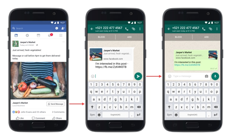 Click-to-WhatsApp button now in Facebook ads. TechCrunch