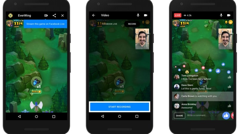 Instant Games on Facebook Messenger allows live streaming.