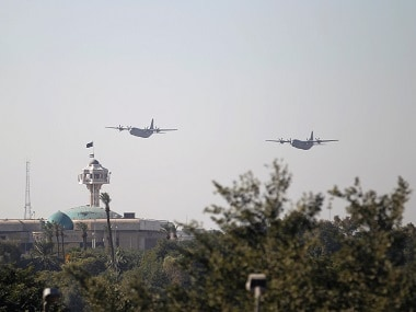 Military planes fly during Iraqi military parade in Baghdad. Reuters