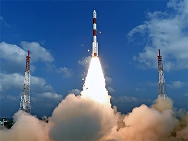 The PSLV-C37 mission blasting off with 104 satellites on board.