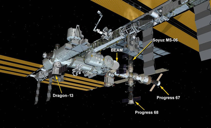 The spacecraft currently docked at the ISS. Image: NASA.