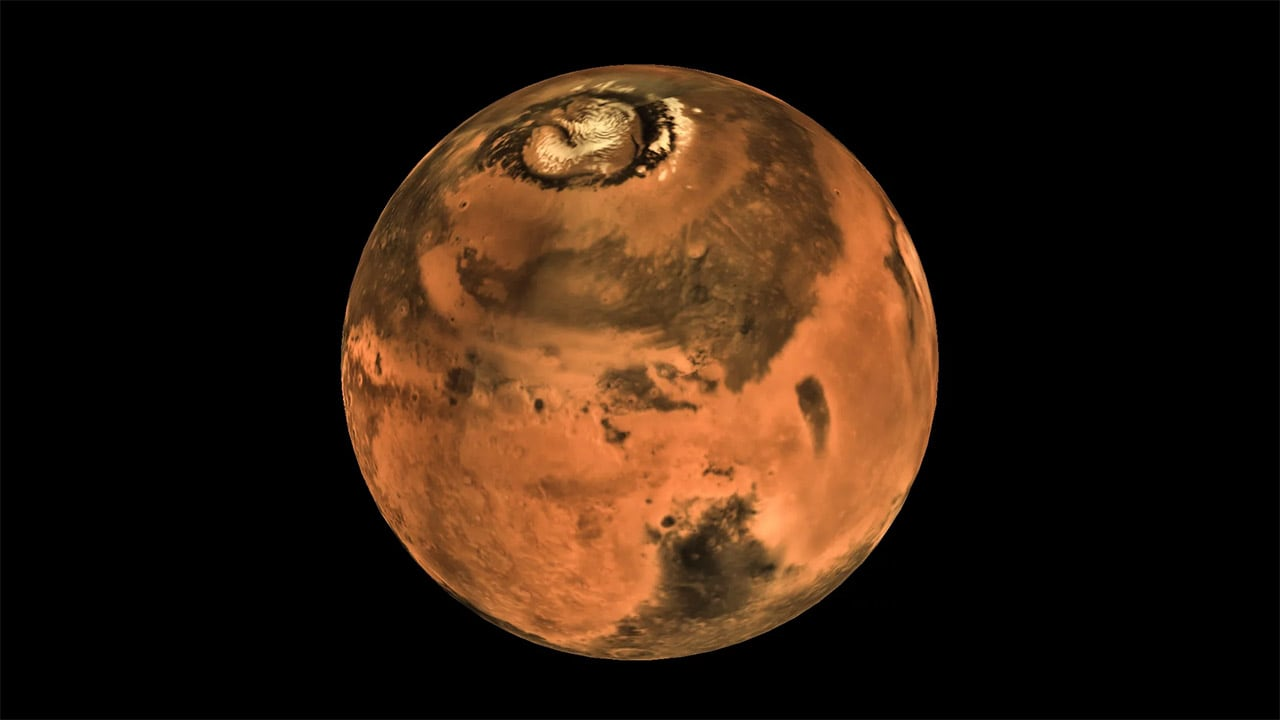 A map of Mars produced from images captured by MOM. Image: NASA.