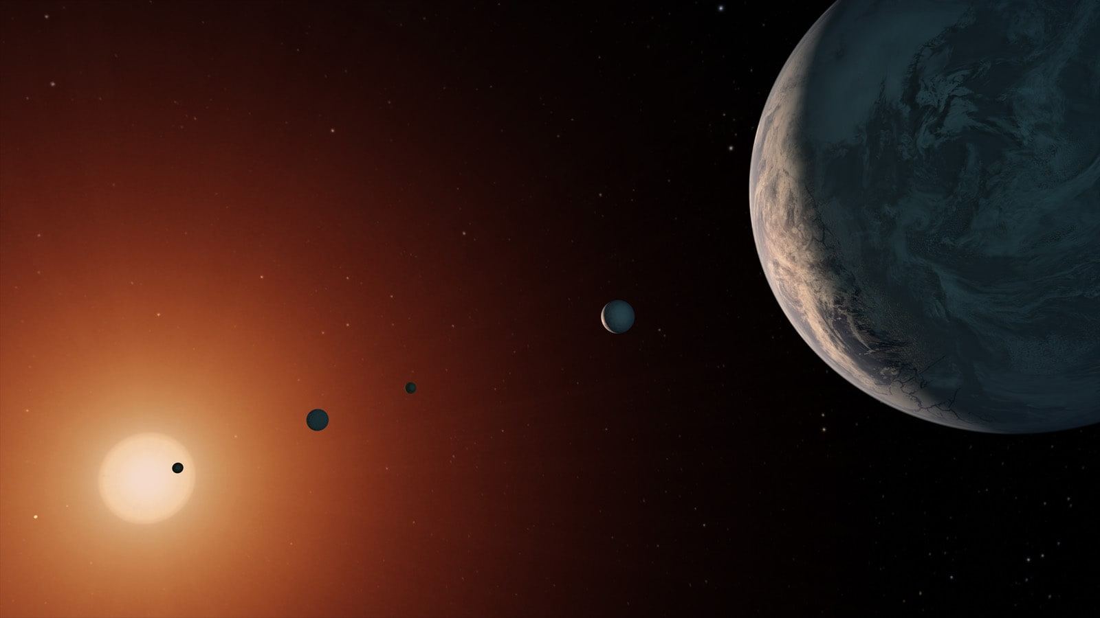 Another concept of the TRAPPIST-1 system. Image: NASA.
