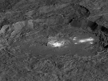 The bright areas of Occator Crater are examples of bright material found on crater floors on Ceres. NASA
