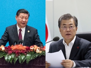 South Korean President Moon Jae-In and Chinese president Xi Jinping. Agencies