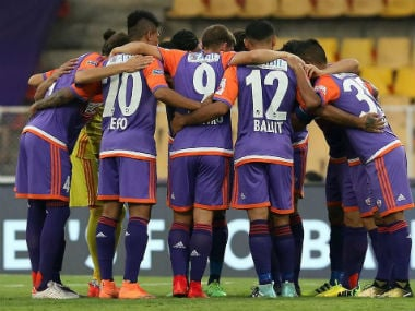 The FC Pune team in a huddle. They will want a positive result against the formidable Bengaluru FC at home. Twitter/@FCPuneCity