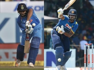 Indian captain Rohit Sharma (L) and his Sri Lankan counterpart Thisara Perera. Agencies