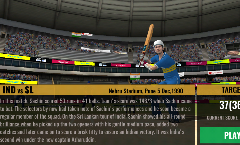 The game is sheer nostalgia. It harks back to a day and age when Tendulkar was the mascot of a nation striving hard to make its presence felt on the global stage. Mobile screenshot