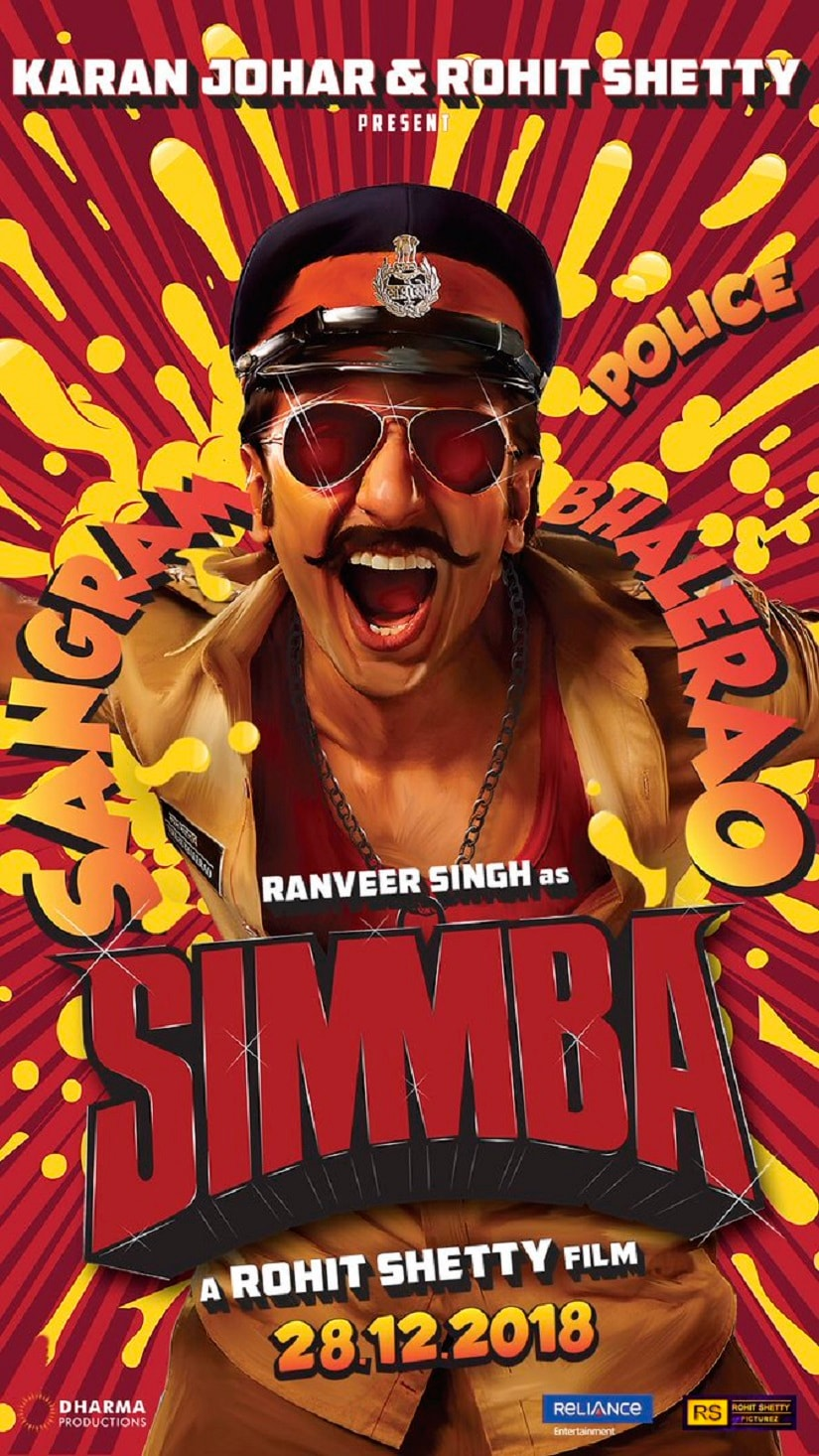 Ranveer Singh in the first poster of Simmba. Twitter@Ranveer_Official