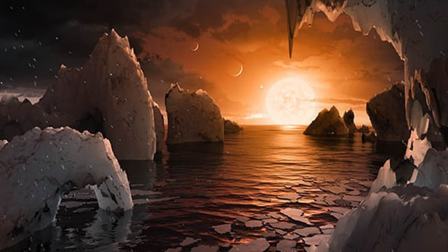 The view from the surface of one of the TRAPPIST-1 planets. Image: NASA.