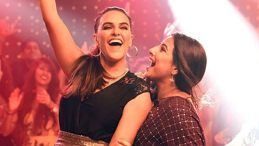 Neha Dhupia and Vidya Balan in a still from Tumhari Sulu. File image