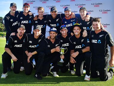New Zealand players pose with the trophy after beating Pakistan 5-0 in ODIs. AFP