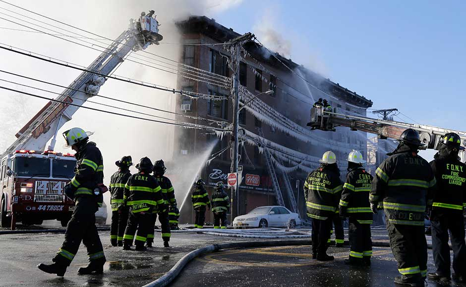 At least 16 people were hurt on Tuesday as a fire tore through an apartment building in the Bronx, just days after another blaze in the New York City borough killed 12 people, a New York City Fire Department spokesman said. AP