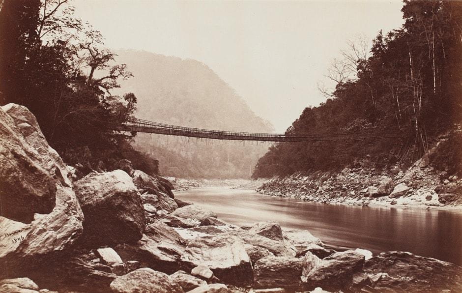 Darjeeling; Cane bridge over theTeesta river leading into Bhootan, Samuel Bourne. Courtesy Sarmaya Collection, Mumbai