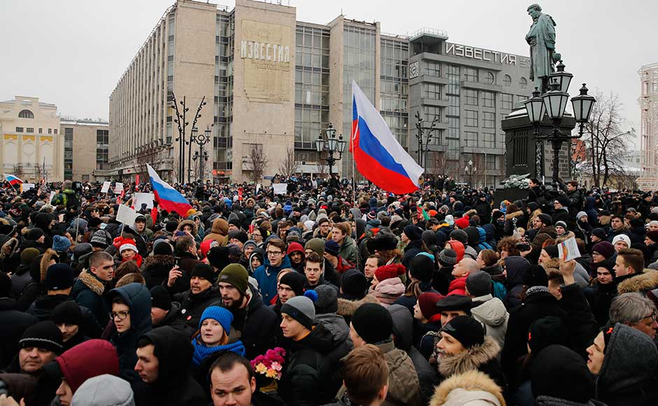 Russian Opposition leader Alexei Navalny has been arrested in Moscow as protest demonstrations called by him took place across the country. AP