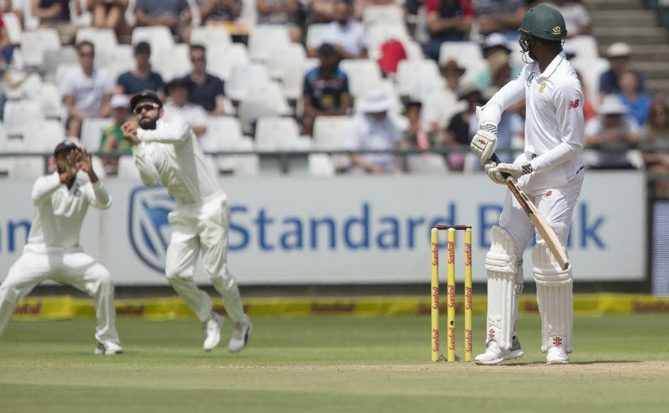 South Africa started the day on a terrible note as they kept losing wickets at regular intervals of time. The Newlands pitch was offering movement and bounce and Indian players made most of it. AP