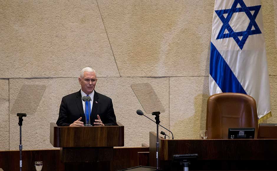 Pence proudly reaffirmed US president Donald Trump's 6 December declaration of Jerusalem as Israel's capital and pledged to move the embassy to the disputed city by the end of 2019. AP