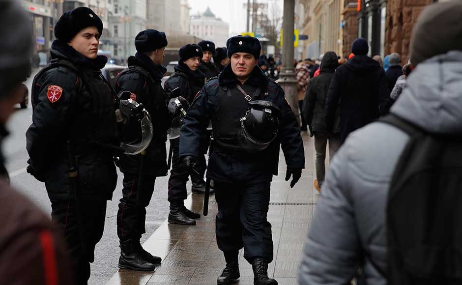 Russian police have also raided the Moscow office of the Opposition leader. A video stream Sunday morning from Navalny's headquarters showed police entering the office. One broadcaster on the stream said police apparently were using a grinder to try to get access to the broadcast studio. AP