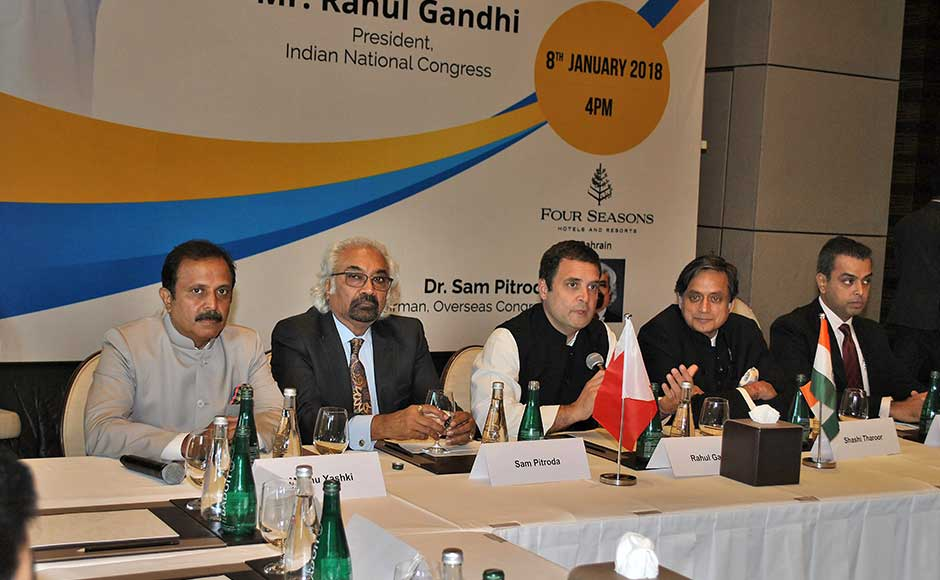 According to a statement issued by the Congress, Gandhi will be the chief guest at the valedictory session of a function organised by Global Organisation of People of India Origin (GOPIO) in Bahrain on Tuesday. Delegates from 50 countries are participating in the function, the statement said. Rahul at an interactive session with the business leaders of Indian Origin in Bahrain. PTI