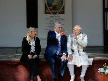 File image of Narendra Modi, Benjamin Netanyahu and his wife Sara at Sabarmati Ashram. PTI