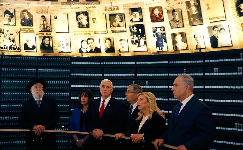 Pence also toured Jerusalem's Yad Vashem Holocaust memorial accompanied by Israeli Prime Minister Benjamin Netanyahu on Tuesday and met President Reuven Rivlin. AP