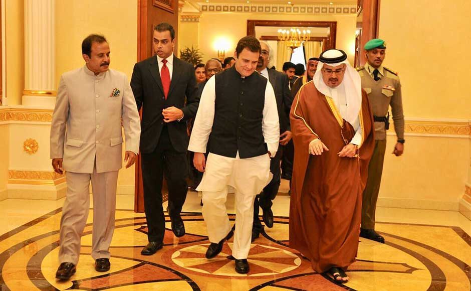 He is expected to return to India on 9 January. Rahul in a discussion with Prince Salman bin Hamas Al-Khalifa. Twitter@OfficeOfRG