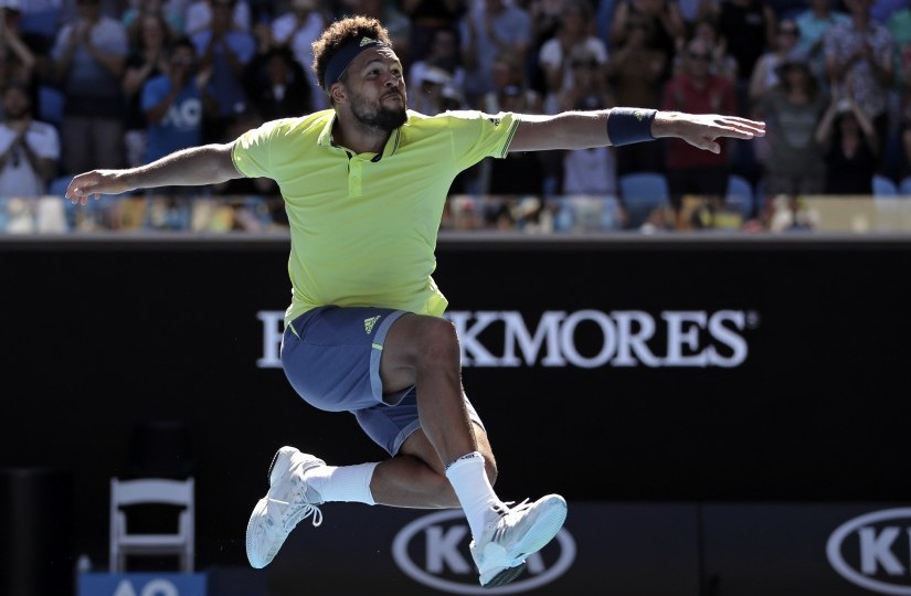 France's Jo-Wilfried Tsonga celebrates his win over Canada's Denis Shapovalov during their second round match at the Australian Open. AP