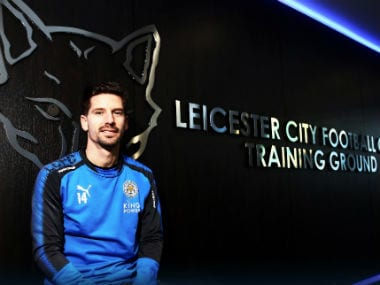 Adrien Silva poses after signing for Leicester City on the opening day of the winter transfer window. Twitter: @LCFC