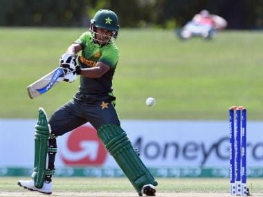 Ali Zaryab plays a shot during Pakistan's match against South Africa. Image Courtesy: Twitter @ICC