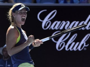 Angelique Kerber celebrates win over Donna Vekic during their second round match. AP