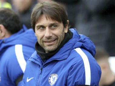 Antonio Conte looks on during Chelsea's clash against Brighton and Hove Albion, which they won 4-0. AP