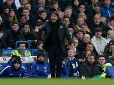Chelsea manager Antonio Conte reacts during the clash with Leicester. Reuters
