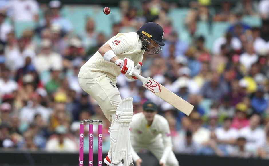 ngland's Mark Stoneman avoids a high delivery from Australia's Mitchell Starc. AP