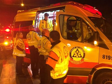 An Atletico fan is in a serious condition after being stabbed multiple times. Twitter: Emergencias Madrid