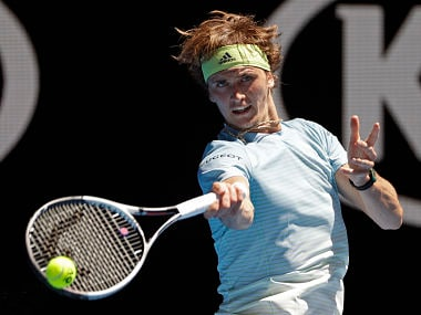 Germany's Alexander Zverev makes a forehand return to Italy's Thomas Fabbiano during their first round match at the Australian Open tennis championships in Melbourne, Australia, Tuesday, Jan. 16, 2018. (AP Photo/Dita Alangkara )
