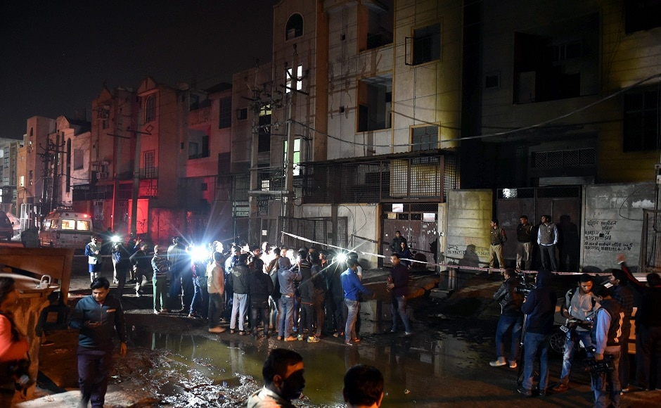 Seventeen people were killed and two injured in a massive blaze at a firecracker storage unit in outer Delhi's Bawana industrial area on Saturday. A fire services official said the fire started at the storage unit on the ground floor and ripped through the structure. PTI