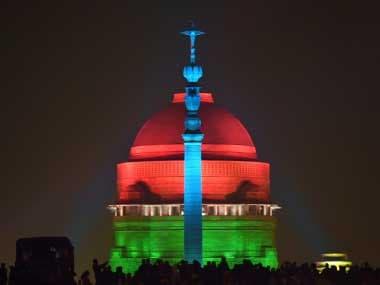 A view of the illuminated Raisina Hills after the Beating Retreat ceremony at Vijay Chowk in New Delhi. PTI