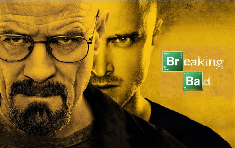 Bryan Cranston as Walter White and Aaron Paul as Jesse Pinkman in a Breaking Bad promo poster. AMC