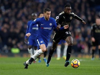Eden Hazard was withdrawn before the hour mark as a lackluster Chelsea were held to a draw by ten-man Leicester at Stamford Bridge. AFP