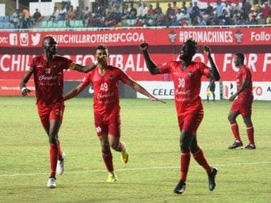 File image of Churchill Brothers celebrating a goal. Image Courtesy: Twitter/@ILeagueOfficial